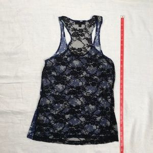 Iris Basic Tops - Navy blue floral tank top with black lace back